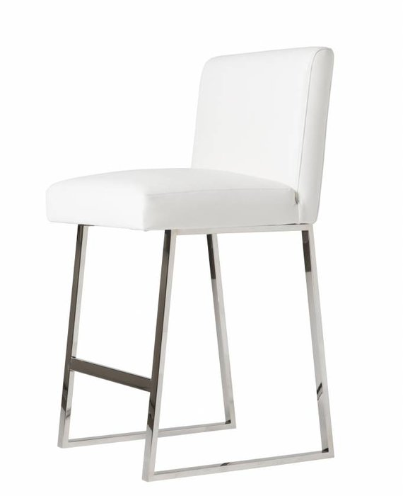 LINDEN BARSTOOL IN WHITE LEATHER CHROME