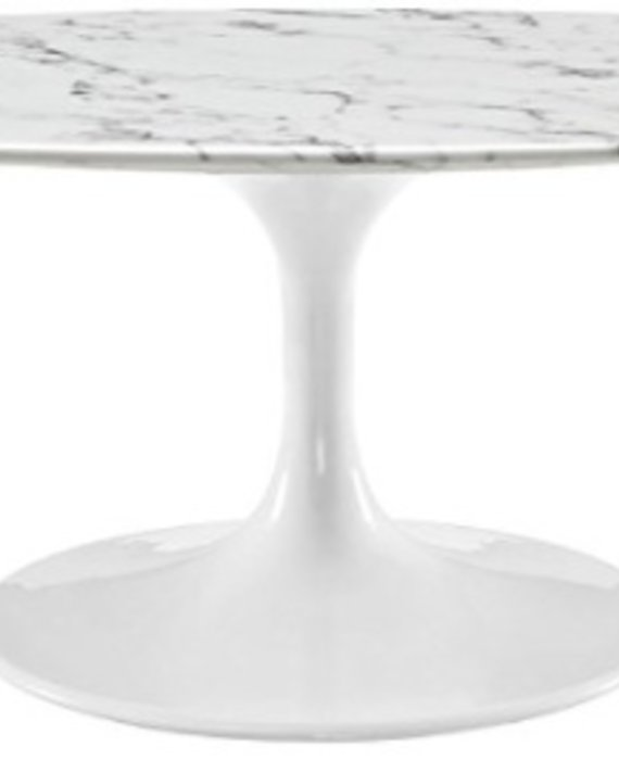 "48"" OVAL RESIN COFFEE TABLE IN WHITE MARBLE"