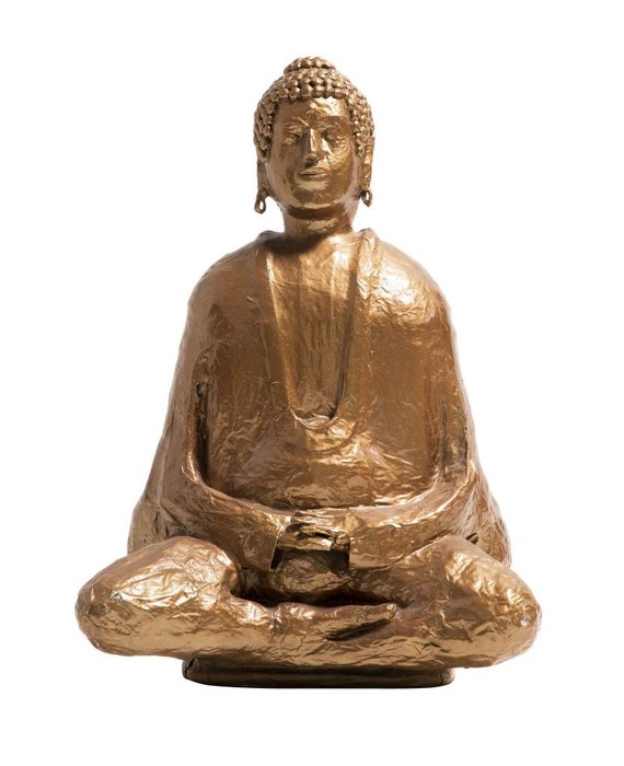 Buddha in Full Lotus - Gold Paper Mache Statue
