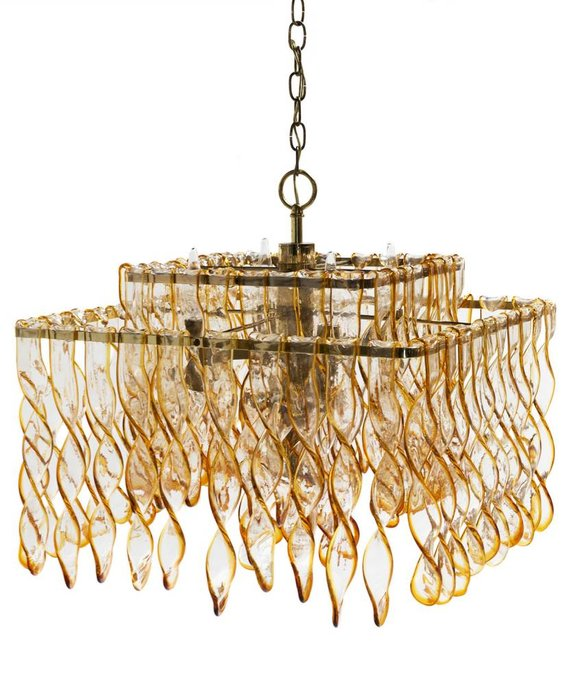 VINTAGE TWO TIER AMBER GLASS CHANDELIER