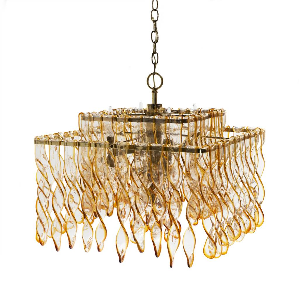 Vintage two tier amber glass chandelier scout design studio vintage two tier amber glass chandelier aloadofball Images