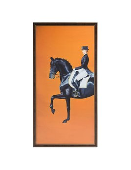 FRAMED EQUESTRIAN PRINT ON SILK CLOTH