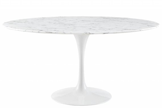 "60"" ROUND RESIN DINING TABLE IN WHITE MARBLE"