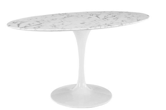 """60"""" OVAL RESIN DINING TABLE IN WHITE MARBLE"""