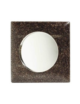 COCONUT WOOD MIRROR  WITH CHROME DETAIL