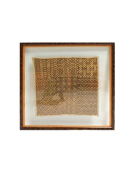 KUBA CLOTH FLOAT MOUNTED IN BURL FRAME
