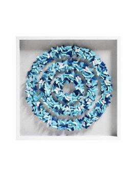 SPIRAL BUTTERFLY ART BY JEN LIN - BLUE - 31.5x31.5
