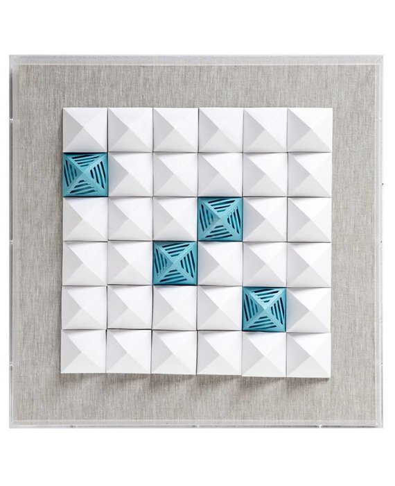 JEN LIN JZ025-3  WHITE AND BLUE PAPER ART IN ACRYLIC