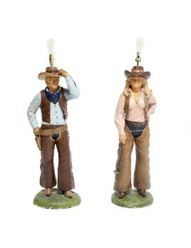 COWBOY AND COWGIRL FLOOR LAMP - SOLD AS A PAIR