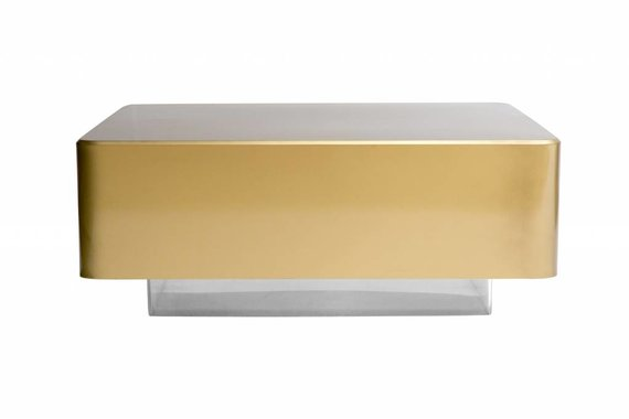 GOLD LACQUERED COFFEE TABLE ON LUCITE BASE