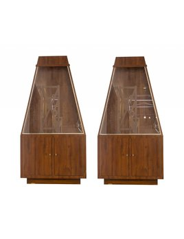 PAIR OF VINTAGE ROSEWOOD DISPLAY CABINETS