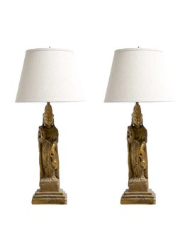 PAIR OF ASIAN GOLD CHINOISSERIE SCULPTURE LAMPS