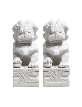 PAIR OF LARGE MARBLE FOO DOGS