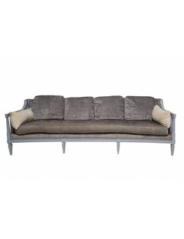 TRADITIONAL VINTAGE SOFA IN GREY FAUX CROC UPHOLSTERY AND GREY MATTE LACQUER