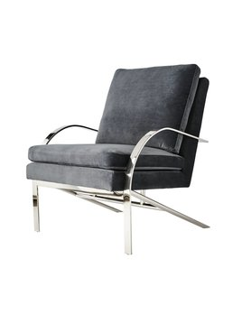 WOODWARD CHAIR IN STEEL GREY VELVET
