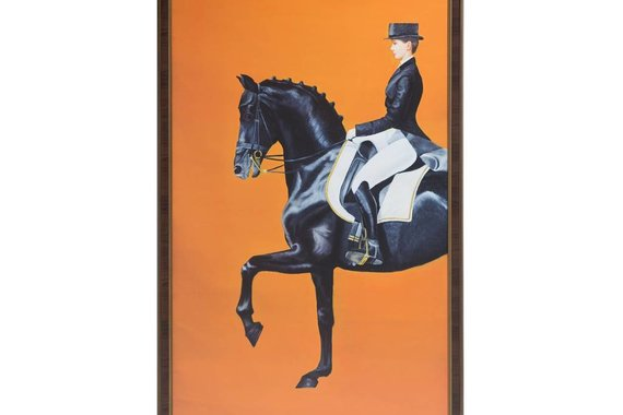 FRAMED EQUESTRIAN PRINT ON SILK CLOTH - FLOOR MODEL