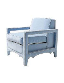 CARY CHAIR IN BABY BLUE WITH WHITE PIPING