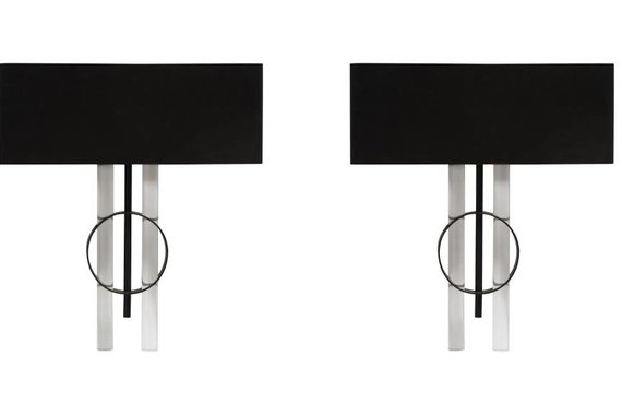 PAIR OF BLACK AND LUCITE WALL SCONCES