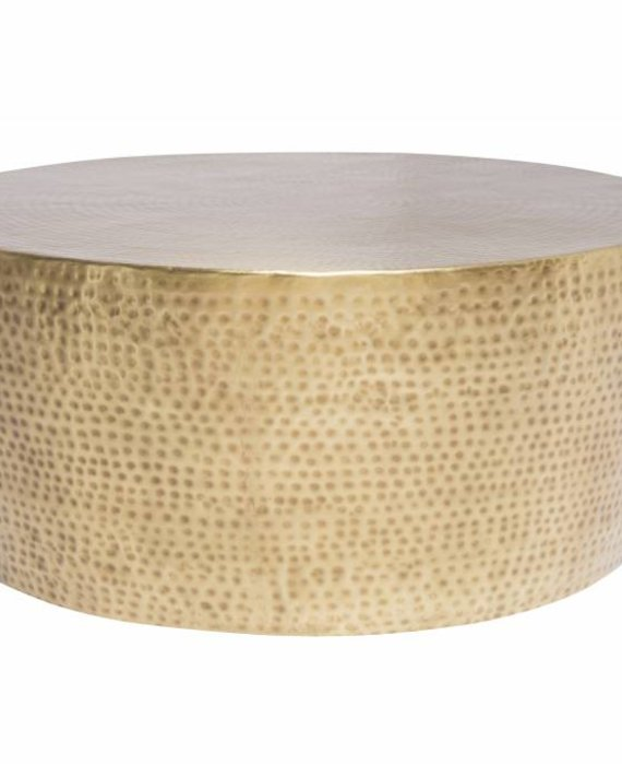 HAMMERED BRASS DRUM COFFEE TABLE