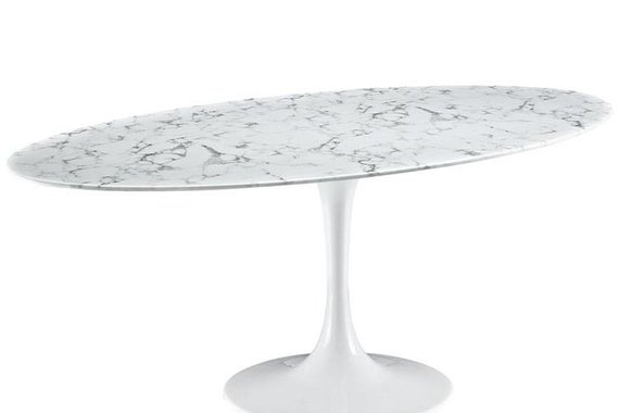 """78"""" OVAL RESIN DINING TABLE IN WHITE MARBLE"""