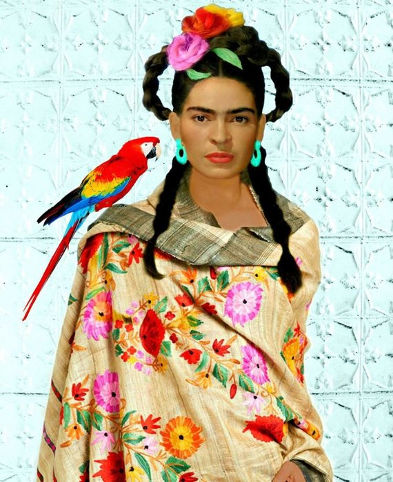 FRIDA IN SHAWL WITH PARROTT