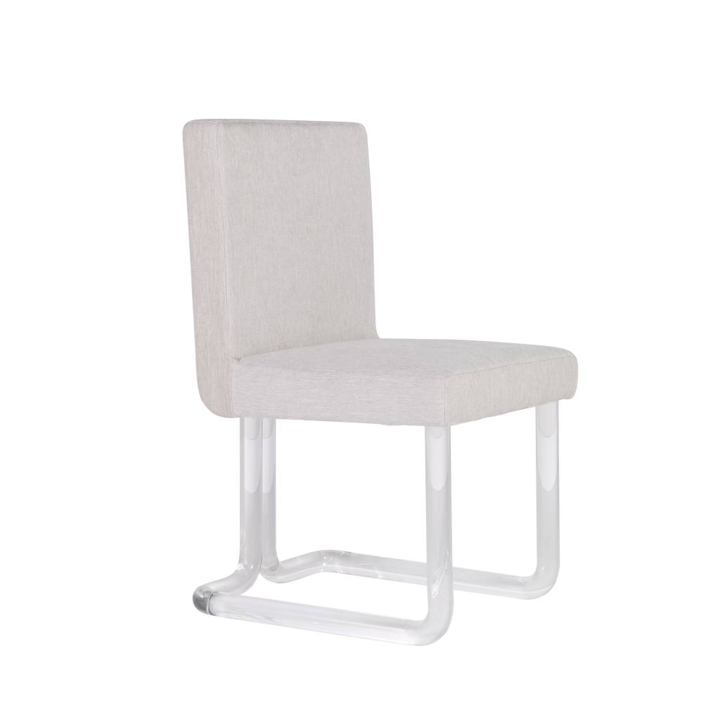 CHAPIN ACRYLIC DINING CHAIR WITH BRASS JOINTS IN NATURAL HERRINGBONE FABRIC    FLOOR MODEL
