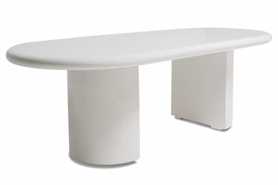 VINTAGE KARL SPRINGER STYLE DINING TABLE IN WHITE LACQUER