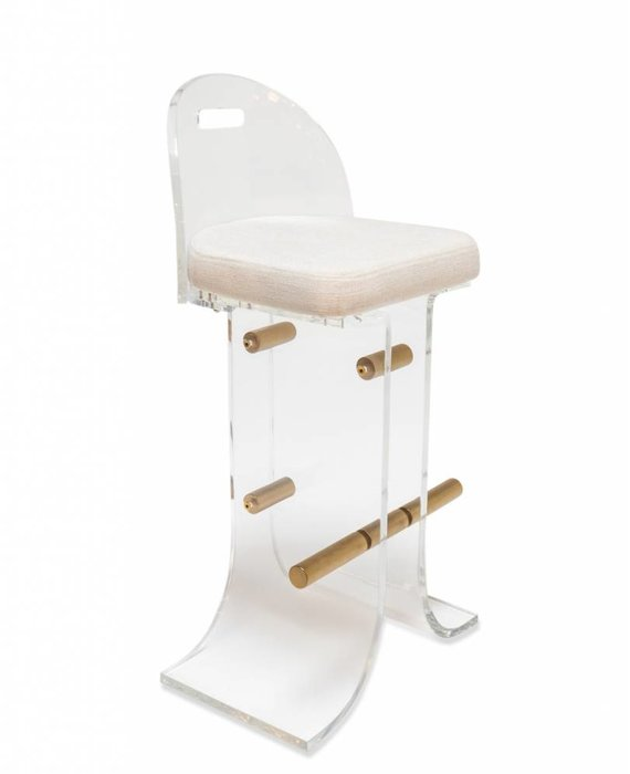 ATLANTA STOOL IN WHITE TWEED - COUNTER HEIGHT