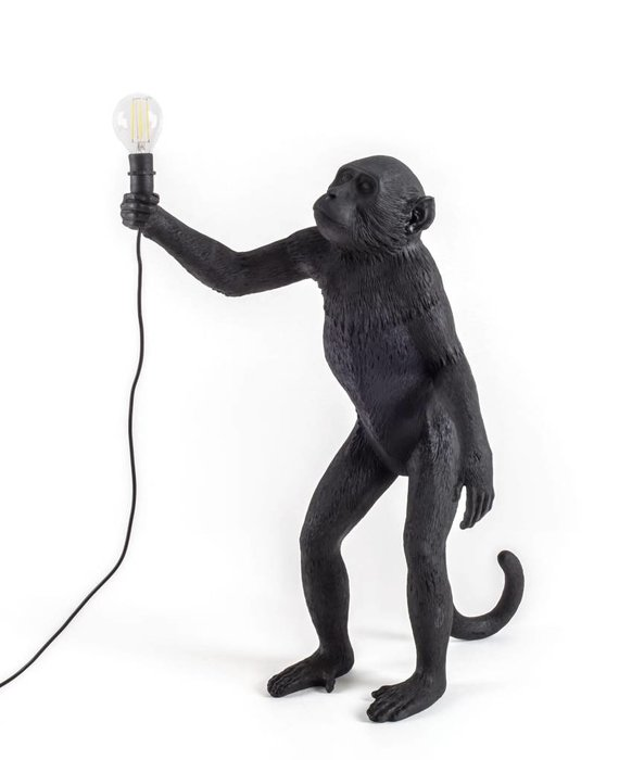 RESIN MONKEY LAMP - STANDING OUTDOOR BLACK BY SELETTI