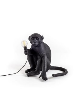 RESIN MONKEY LAMP - SITTING OUTDOOR BLACK BY SELETTI