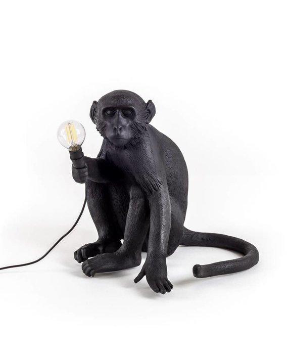 RESIN MONKEY LAMP - SITTING OUTDOOR BLACK BY SELETTI