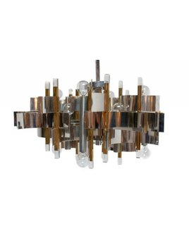 VINTAGE CHROME AND LUCITE CHANDELIER BY GAETANO SCIOLARI