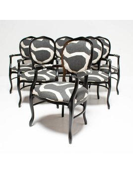 VINTAGE DINING CHAIRS WITH CUSTOM  LACQUER AND UPHOLSTERY - SET OF 6