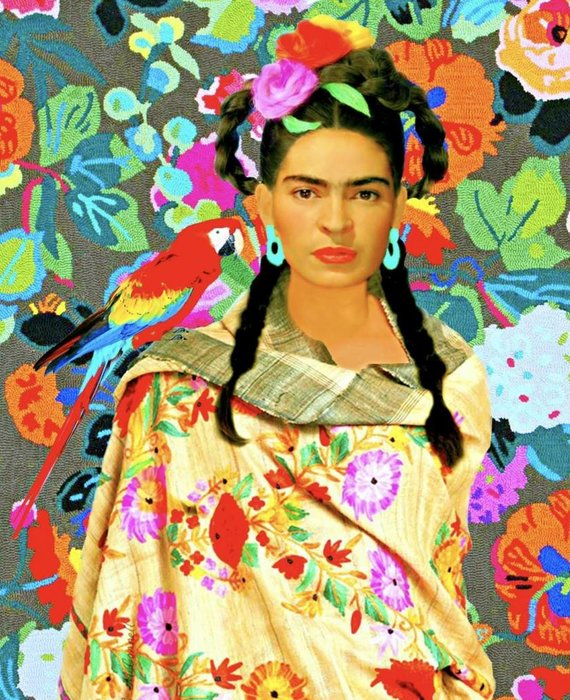 FRIDA IN SHAWL WITH FLORALS