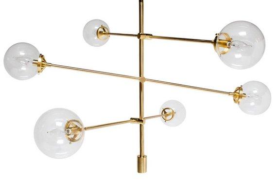 6-Light Oversized Bulbs Sputnik Chandelier - Antique Gold