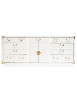 LACQUERED VINTAGE CREDENZA WITH MING HARDWARE