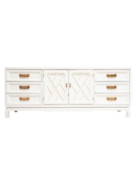 FRETWORK VINTAGE CREDENZA WITH FRESH WHITE LACQUER