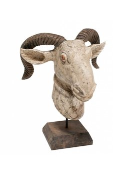 Carved Wood Ram on Stand