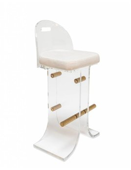 ATLANTA STOOL IN WHITE TWEED - BAR HEIGHT - FLOOR MODEL