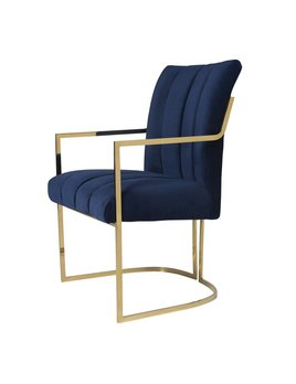 COMAL DINING CHAIR IN NAVY VELVET - FLOOR MODEL