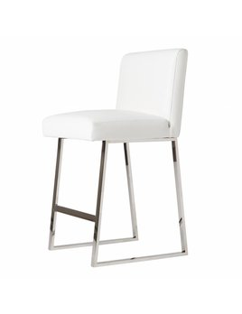 LINDEN BARSTOOL IN WHITE LEATHER CHROME - FLOOR MODEL