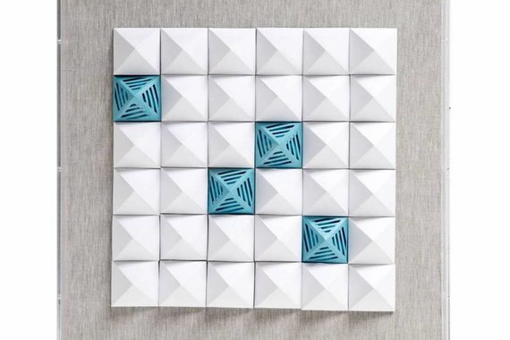 JZ025-3  WHITE AND BLUE PAPER ART IN ACRYLIC - FLOOR MODEL