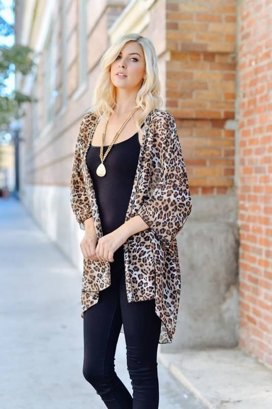 Leopard Print Kimono Cardigan - Back Road Beauties Boutique