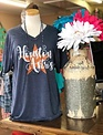 Back Road Beauties Houston Astros Orange Glitter Star V Neck Tee