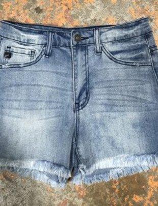 Light Wash Denim Frayed Shorts