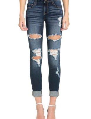 Vintage Wash Destroy Skinny Jeans