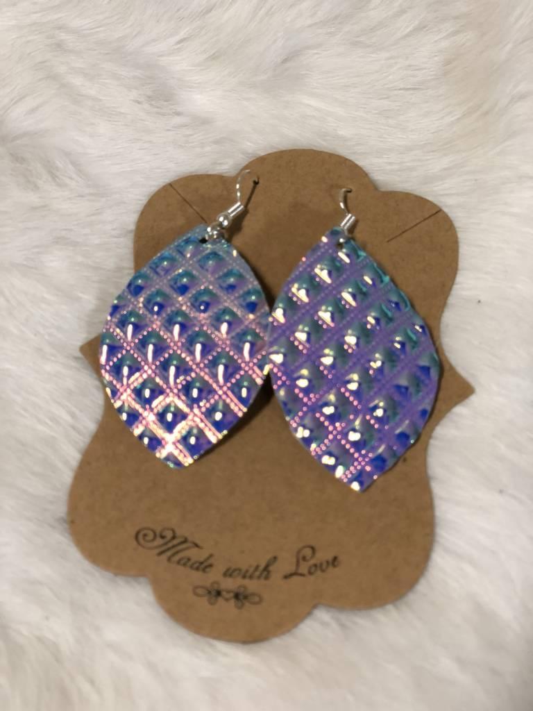 Glitter Leaf Earrings, Small, FR