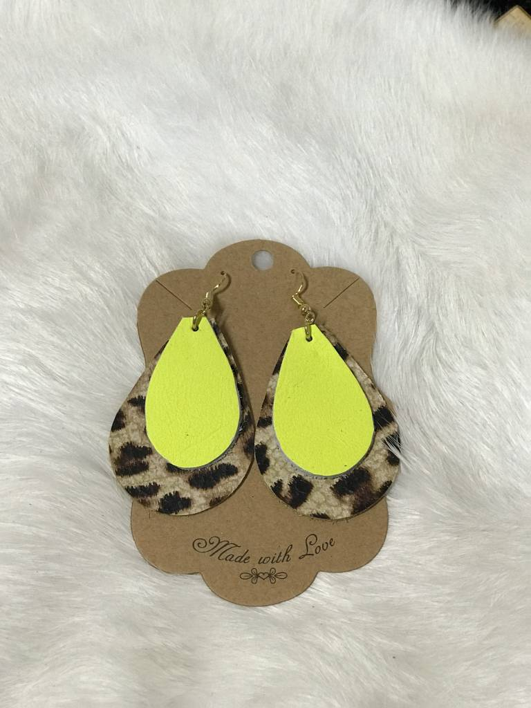 Double Layered Leather Large Earrings, FR