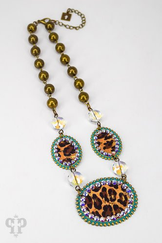 Pink Panache TURQUOISE medium & 2 small ovals with LEOPARD inlay & AB crystals on AB coin connectors with BRONZE beads