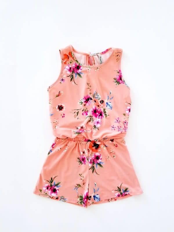 Girls Peach Floral Romper